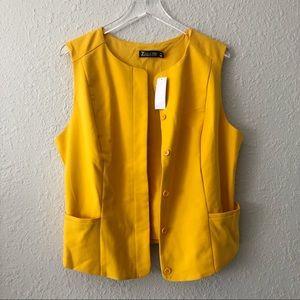 7th Avenue NY & C Mustard Yellow Vest NWT  XXL